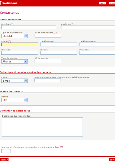 Scotia Bank contact form