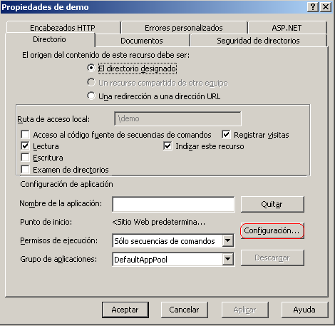 Propiedades del Directorio Virtual