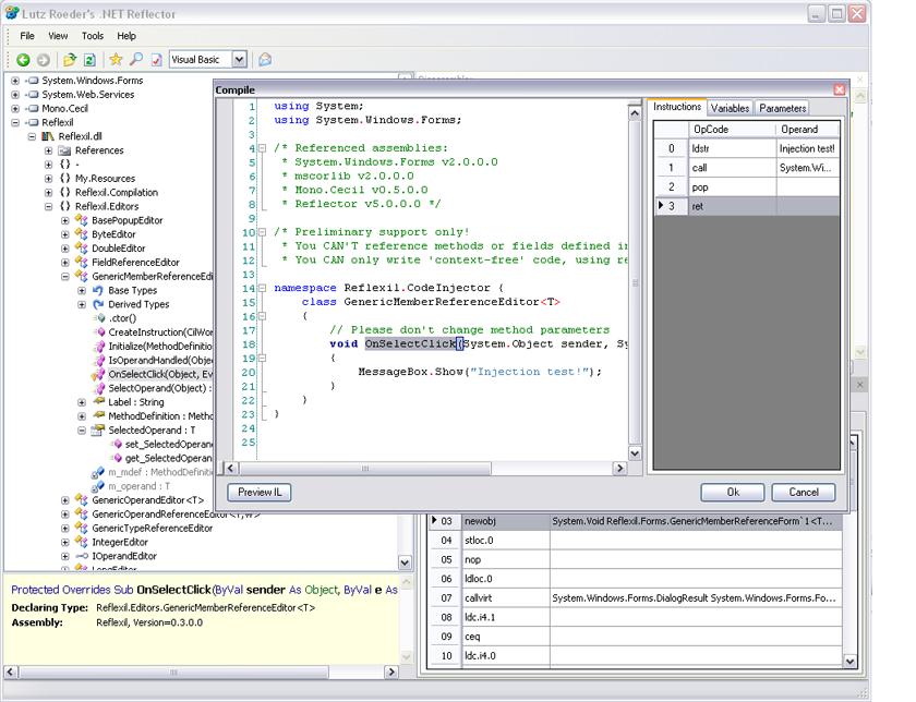Reflexil, modifica ensamblados .NET desde Reflector
