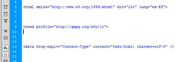 Código HTML con líneas de más