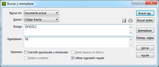 Quitando espacios innecesarios en archivos usando Dreamweaver